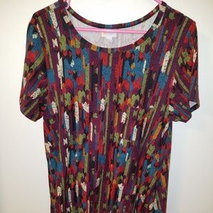 Lularoe leggings material multicolor Carly dress L